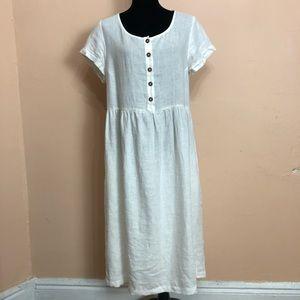 Pyne & Smith Linen White Midi Dress